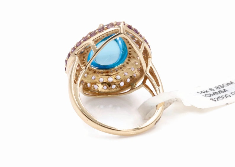 14K Yellow Gold Swiss Blue Topaz Amethyst and Diamonds Ring Party Ring Cocktail ring anniversary gift gift for her