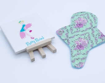 """7"""" Thong Liner Floral Cotton CSP Cloth pad (2"""" snapped) thin discrete fleece back daily liner"""