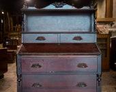 Antique Drop Front Secretary Desk Cherry Finish Vintage Furniture