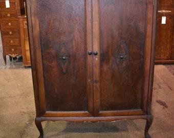 Antique Walnut Bedroom Armoire Wardrobe Closet Vintage Furniture