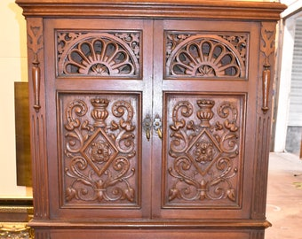 Antique Heavily Carved Vintage Oak Cabinet signed Lightolier New York Dining Bar
