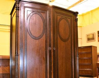 Antique Mahogany & Walnut Bedroom Wardrobe Closet Armoire