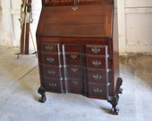Antique Mahogany Governor Winthrop Drop Front Secretary Desk Bookcase Top by Maddox Tables