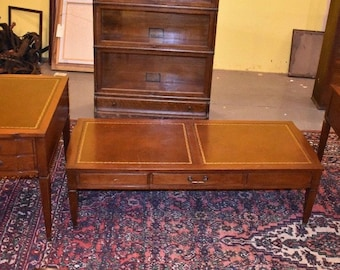 Antique Leather Top 3 Piece Mahogany Parlor Table Set Vintage Coffee End  Tables
