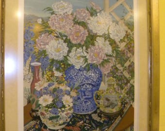 """Peonies"""" Pencil Signed Limited Edition Serigraph by John Powell"""