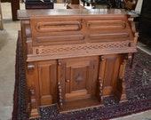 Antique Victorian Pump Organ Drop Front Desk, Dining Bar