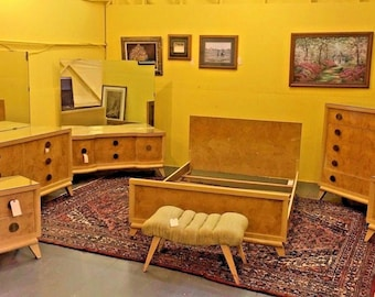 Beau Antique Mid Century Modern Blond Bedroom Set Full/Queen Vintage Furniture
