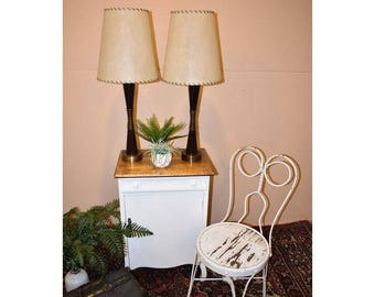 Mid-Century Wood & Brass Stick Table Lamps - A Pair