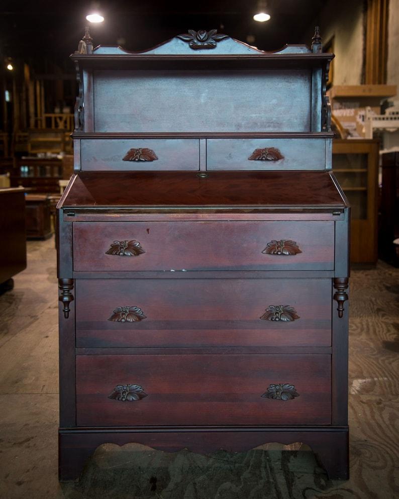 Antique Drop Front Secretary Desk >> Antique Drop Front Secretary Desk Cherry Finish Vintage Furniture