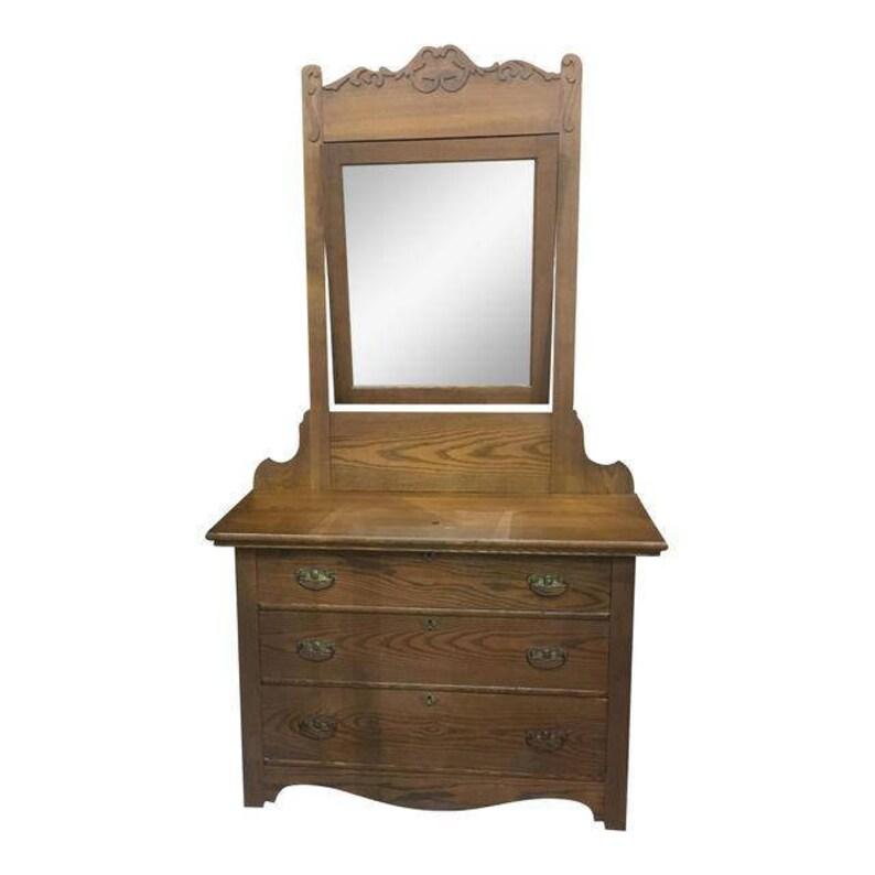 Antique Vintage Oak Bedroom Dresser and Mirror | Etsy