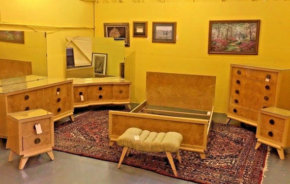 Antique Mid Century Modern Blond Bedroom Set Full/Queen Vintage Furniture
