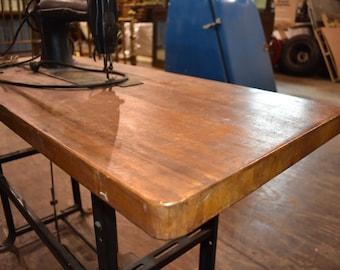 Antique IndustrialTable Singer Sewing Machine Butcher Block Top
