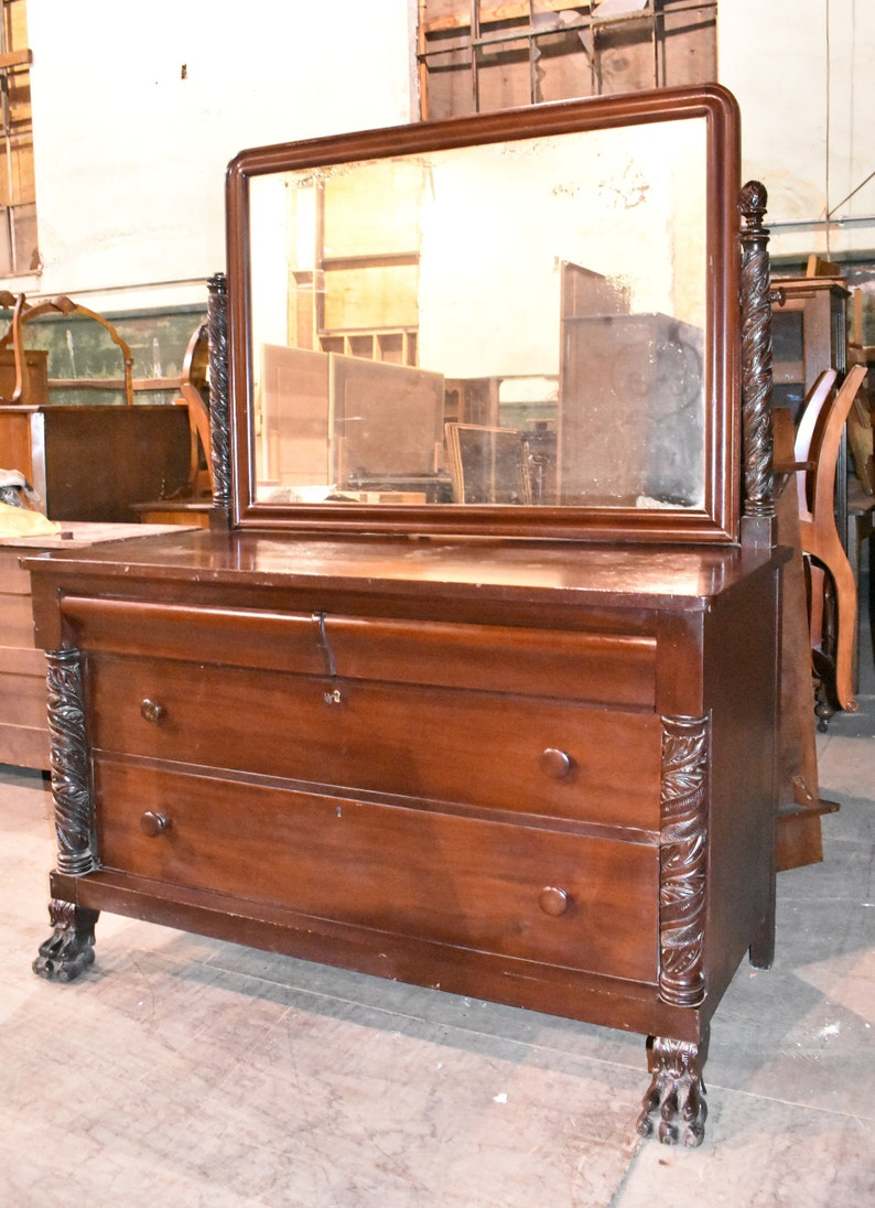 Antique Empire MahoganyBedroom Dresser with Mirror Berkey & Gay Vintage Paw  Foot