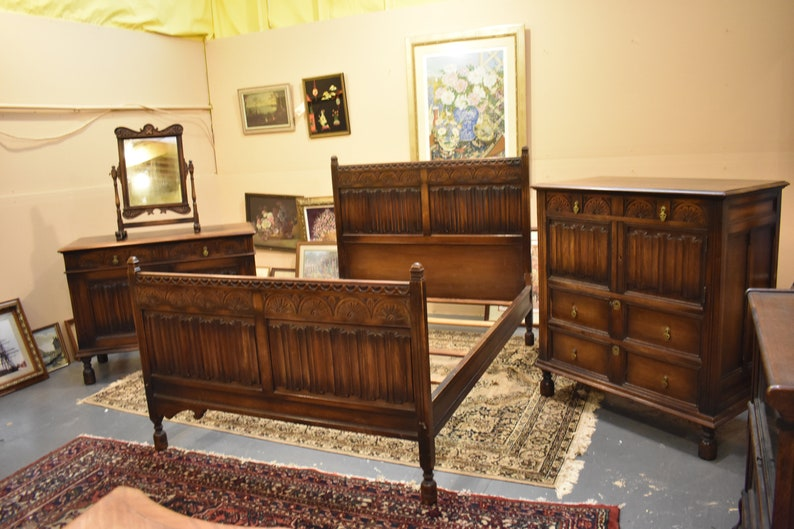 Antique Kittinger Solid Walnut 4 Piece Bedroom Set Vintage Furniture
