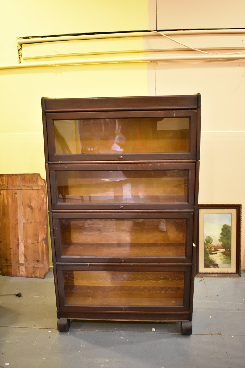 Antique Mahogany 4 Stack Barrister Lawyer S Bookcase Display Cabinet Empire