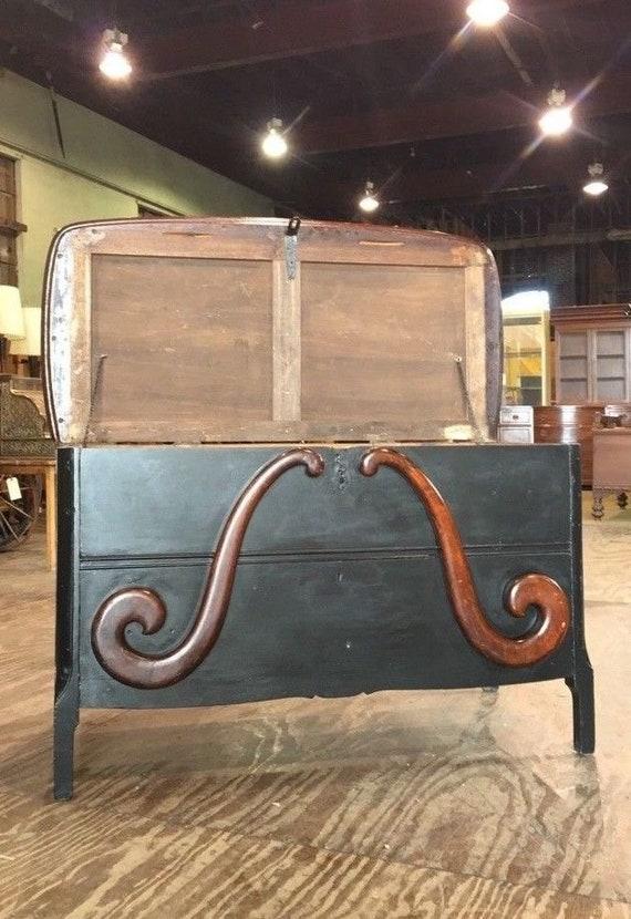 Victorian Antique Black Blanket Chest Oak Trunk Vintage Bedroom Furniture