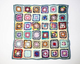 Handmade Granny Square Crochet Baby Blanket Yellow with Gray No 1054