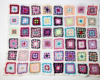 Handmade Granny Square Crochet Baby Blanket White No 1060