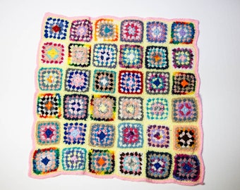 Handmade Granny Square Crochet Baby Blanket Yellow with Pink No 1059