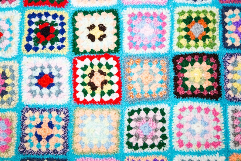 Handmade Granny Square Crochet Baby Blanket Turquoise with White No 1049