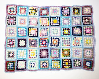 Handmade Granny Square Crochet Baby Blanket Blue with Red No 1048