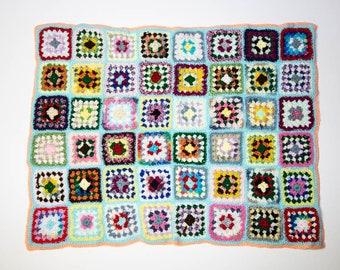 Handmade Granny Square Crochet Baby Blanket Turquoise with Orange No 1056