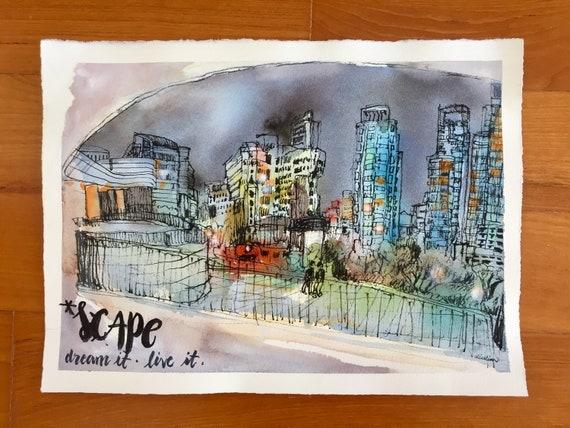 S*cape Park  Orchard Road  Urban sketch  Singapore watercolour  Watercolor  Painting  Office Art Print  Contemporary Art