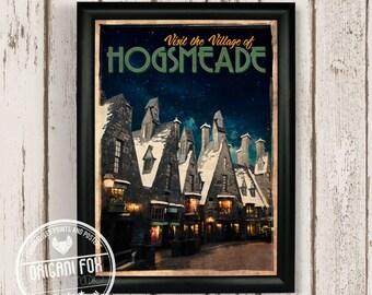 Hogsmeade Retro Travel Poster - Harry Potter inspired print - Vintage style