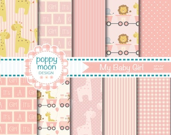 New Baby girl,pinks,,printable digital paper pack