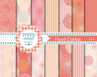 Peach and pink dahlias, digital paper pack