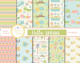 Hello spring,bugs and flowers digital paper pack