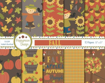 Fall/Autumn, scarecrow, pumpkins, printable digital paper pack