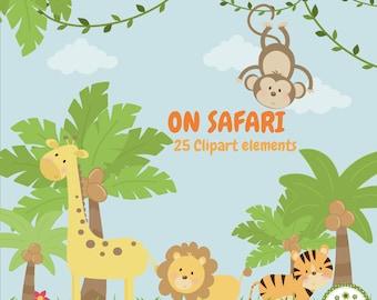 On safari, jungle animal, printable digital clipart set