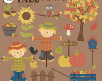 Fall/Autumn, scarecrow, pumpkins, printable digital clipart set