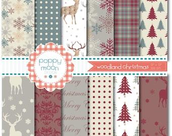 Woodland christmas deers and trees,  printable digital paper pack