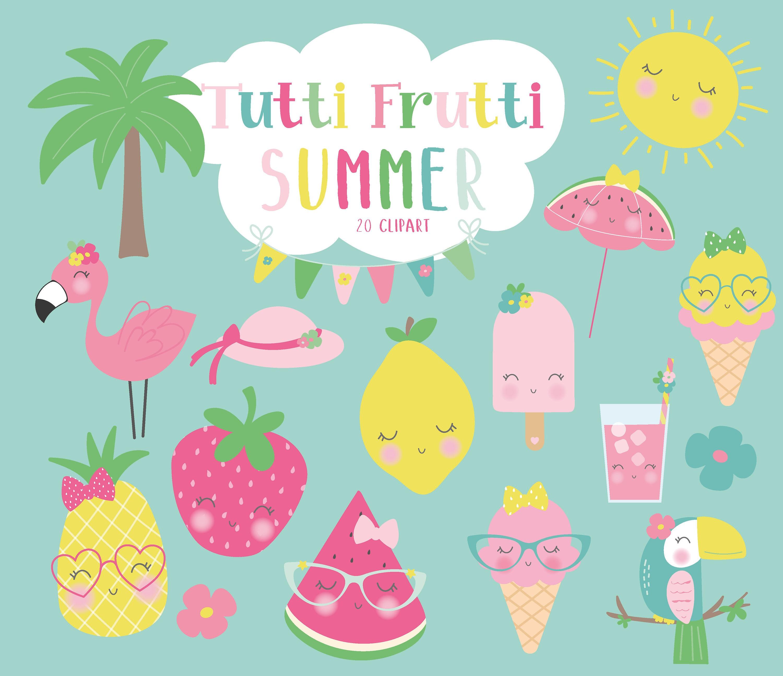 Tutti frutti summerkawaii digital printable clipart | Etsy
