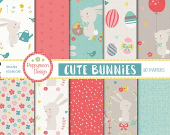 Cute bunnies, easter, spring, printable digital paper pack