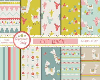 Cute Llama, cactus and mountains, printable digital paper pack