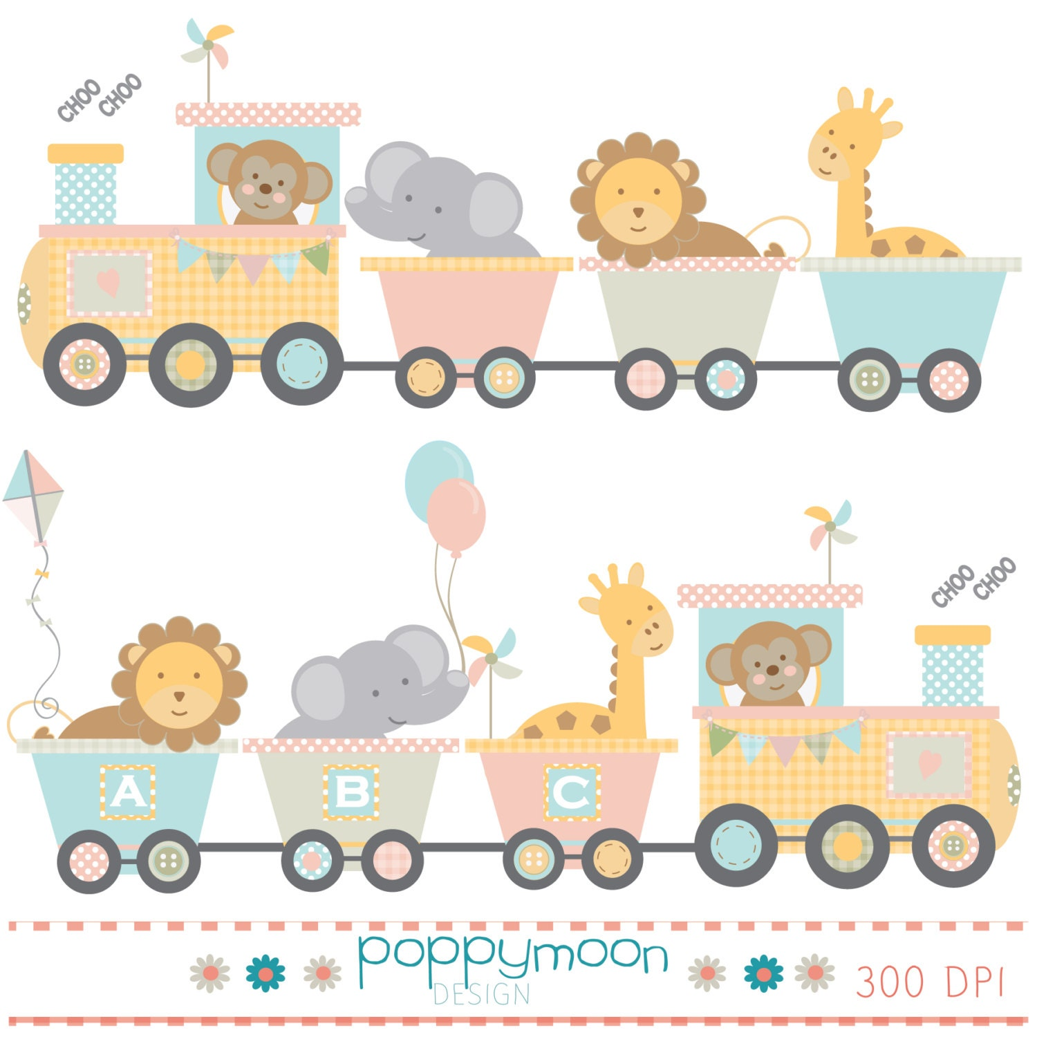 Train baby animals pink yellow blue and green printable