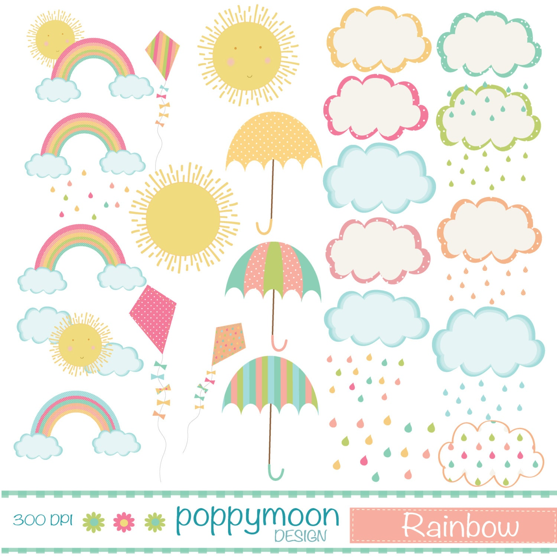 Arco iris nubes cometas y paraguas conjunto clipart | Etsy