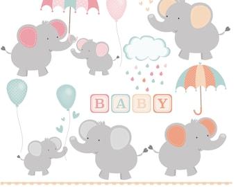 Elephant baby shower , digital clip art set