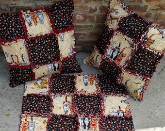 """Pair of Rag Pillow Covers, Cat Rag Pillow, Handmade, Approx 16"""" X16"""",Ready to ship"""