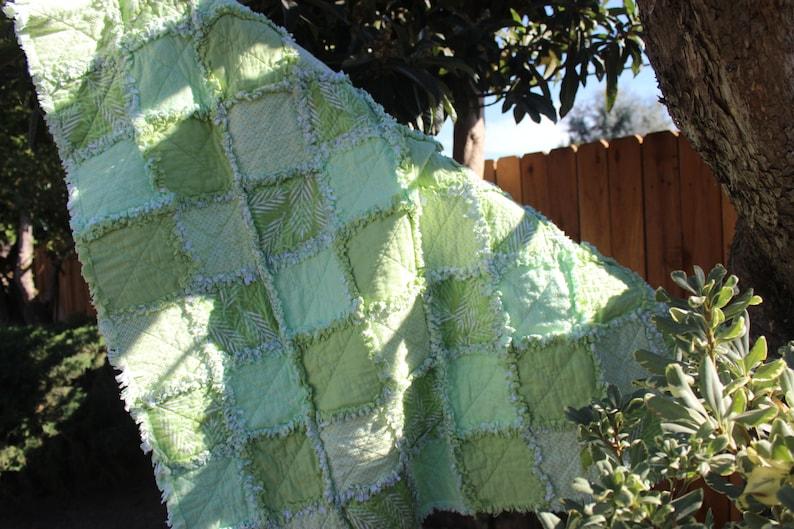 Rag Quilts for Sale 46 x 46 Handmade Approx Ready to Ship Green Garden Decor Rag Lap Quilt Rag Quilt Flannel Raq Quilt