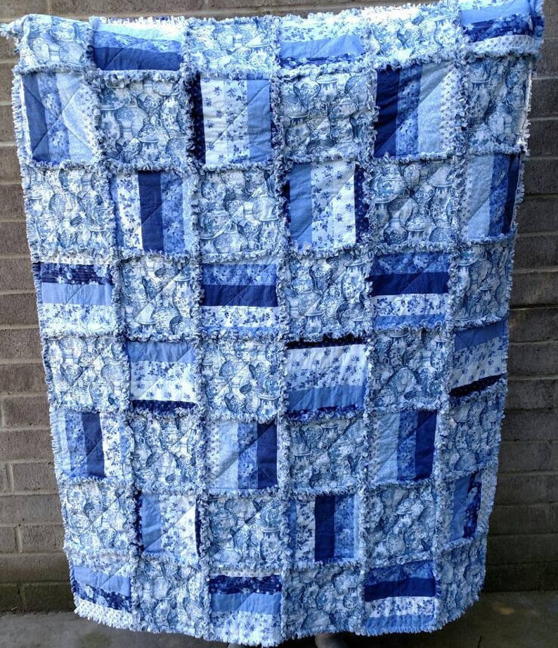 Shabby in Blue /& White Handmade Quilt ready to ship Rag Quilt Approx 49 X 62 Quilts for sale