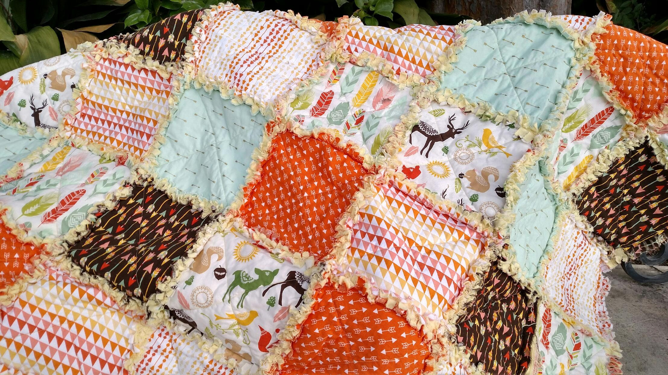Rag Quilt Rag Quilts For Sale Feathers Arrows And Woodland