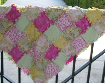 "Rag Quilt, Rag for Sale,  Spring Fling, Rag Lap Quilt, Handmade, Gift for Her, Approx  44"" x 45"",  Ready to Ship"