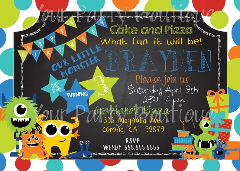 Monster Themed 3rd Birthday Party Invitation Customizable Etsy