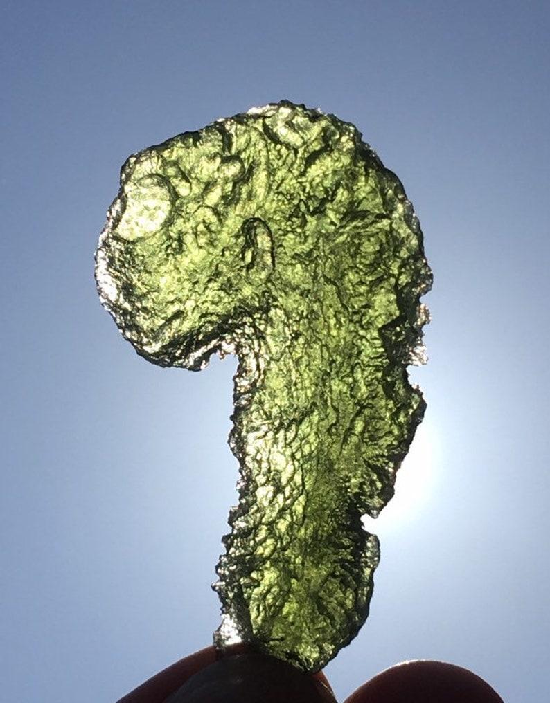 Superb fancy shaped Moldavite from Chlum , Czech Republic , nice color ,  cool structure , 12 8 g , jewelry , pendant , healing stone