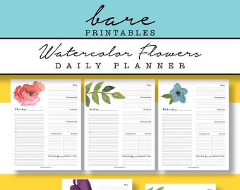 Watercolor Daily Planner Pages, Printable Daily Planner 8.5x11 binder pages