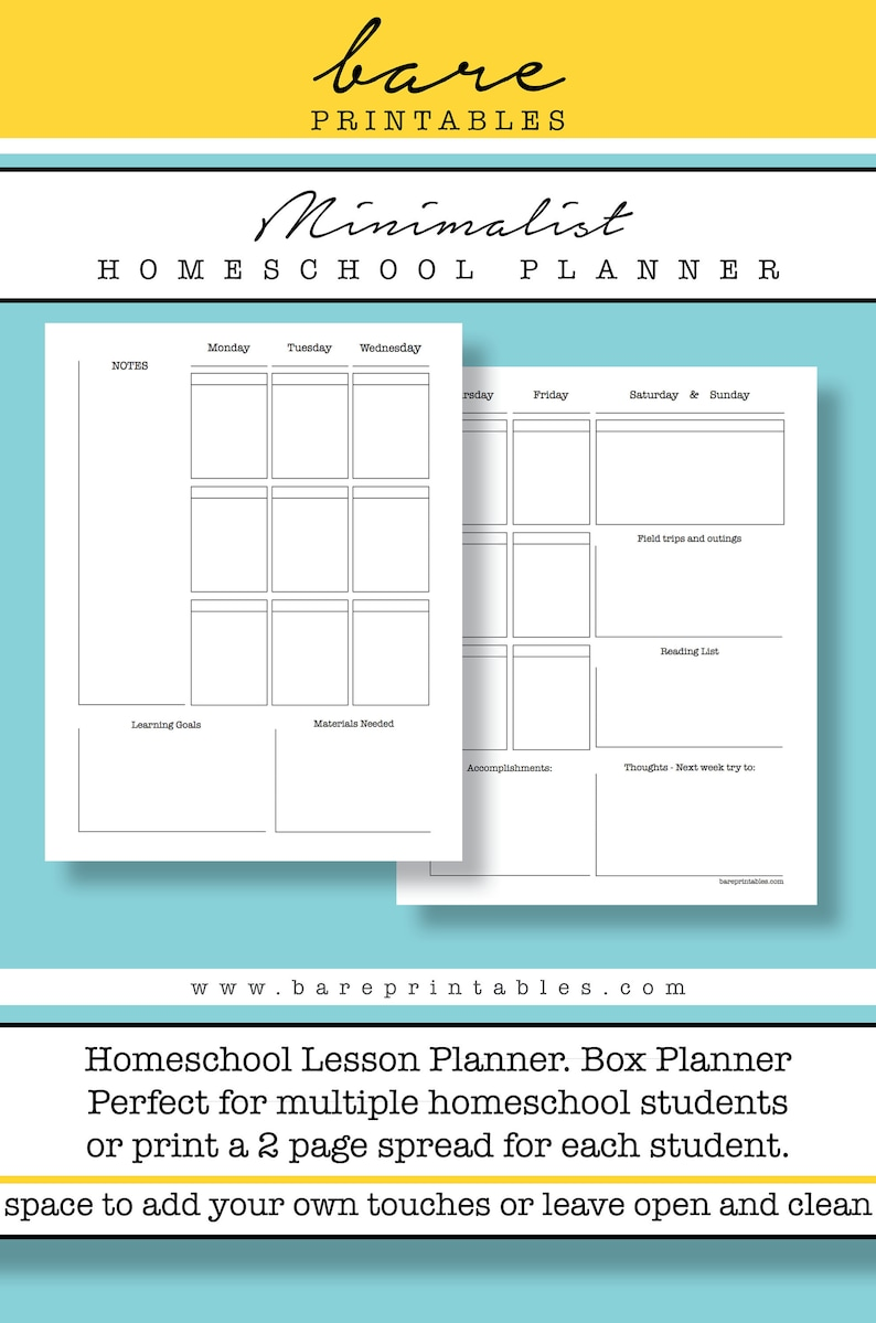 graphic relating to Homeschool Printable Planner known as Minimalist Homeschool lesson planner, Weekly Box Planner, Printable Planner, Electronic Down load 8.5x11